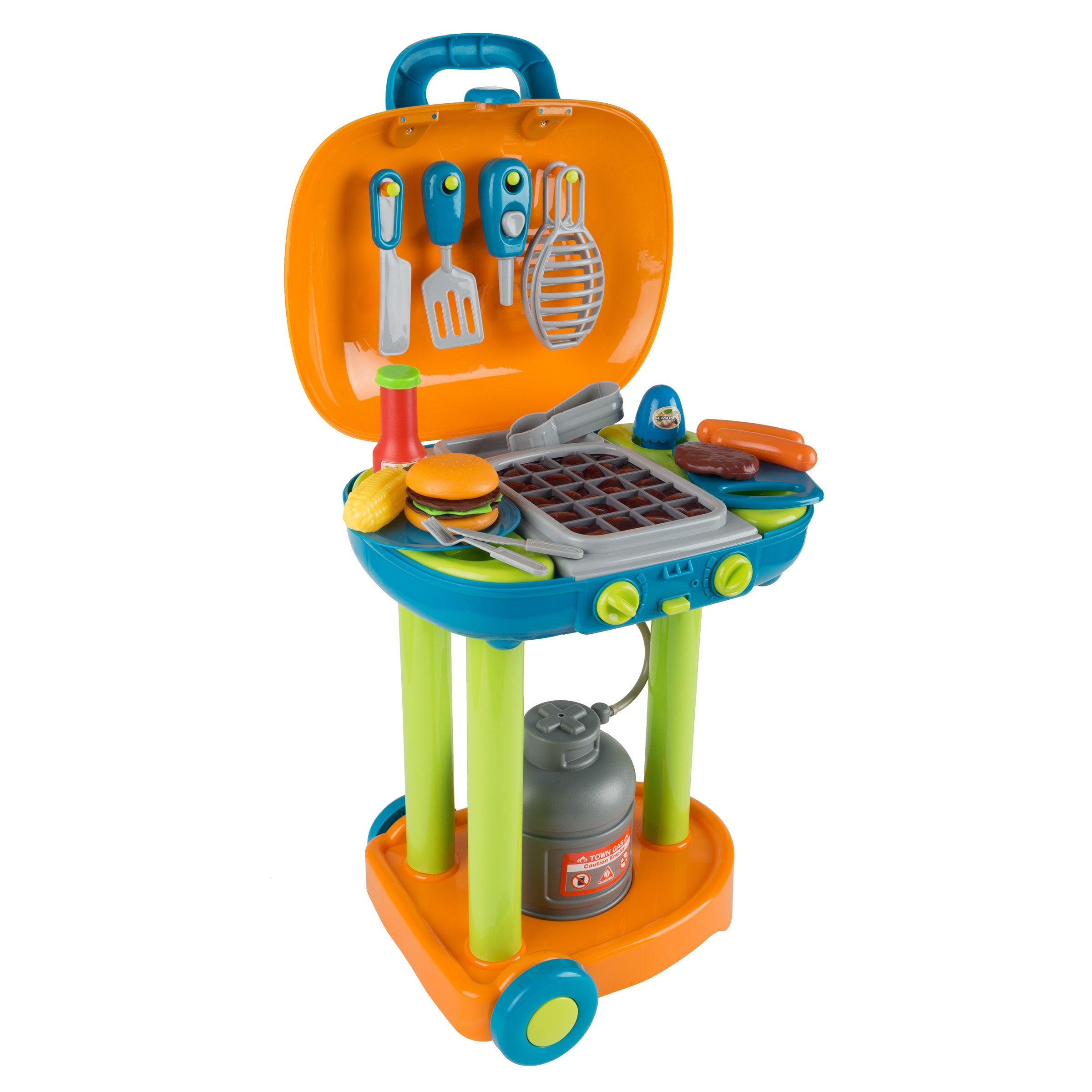 BBQ Grill Toy Set- Kids Dinner Playset with Realistic Sounds and Grate Lights- Includes Barbecue Food and Accessories, Pretend Kitchen by Hey! Play! (Image #1)
