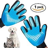 宠物*手套更新版本、脱落手套、宠物刷、宠物去毛手套,适用于狗、猫、马清洁、洗澡、洗衣、脱落(蓝色) Light Blue 1 均码
