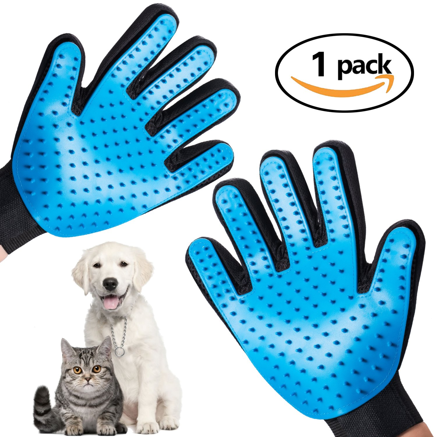 Pet Grooming Gloves Update Version, Deshedding Glove, Pet Brush,Pet Hair Remover Mitts for Dogs, Cats, Horses to Cleaning, Bathing, Grooming, Shedding (Blue)