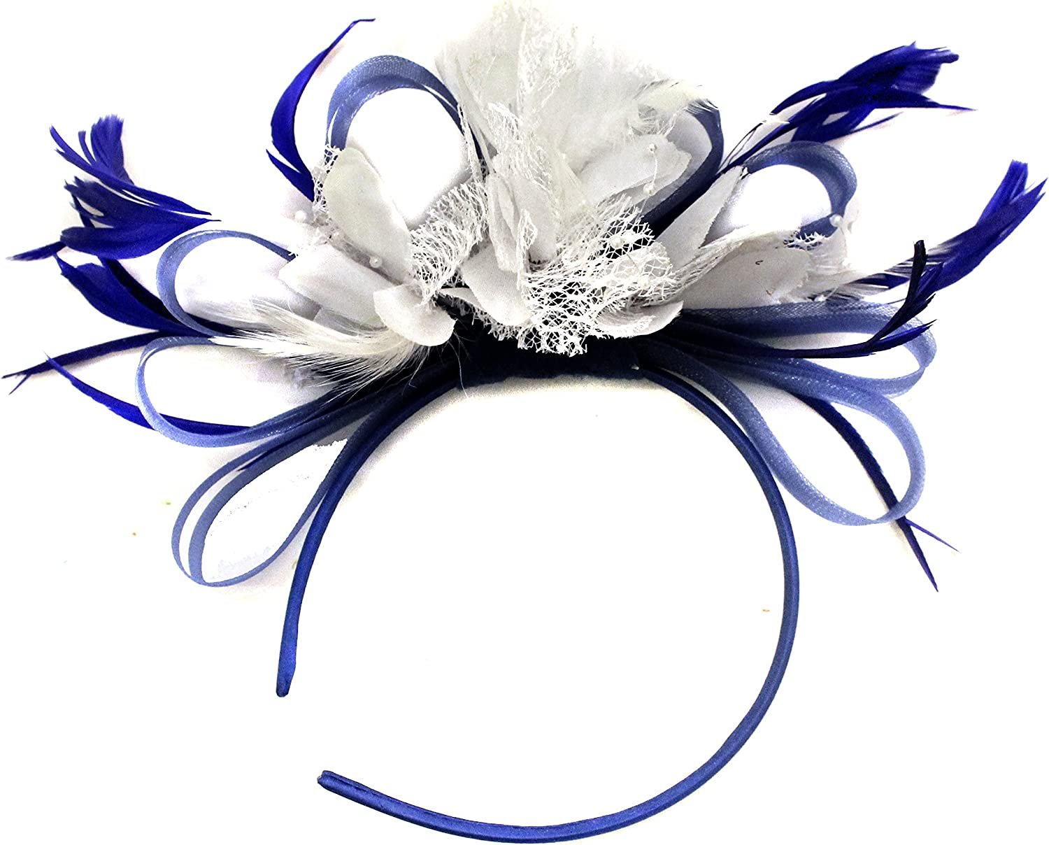 Lady Blue Net Fascinator Feather Hair Clips Bridal Races Ascot Church Hat Gift