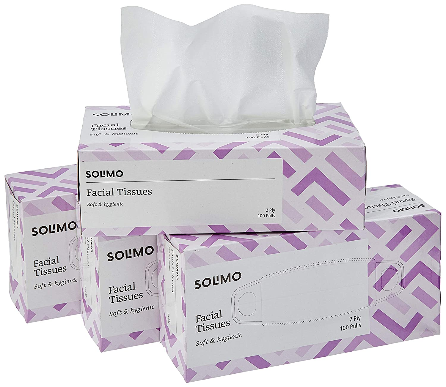 [Apply coupon] Amazon Brand - Solimo 2 Ply Facial Tissues Carton Box - 100 Pulls (Pack of 4)