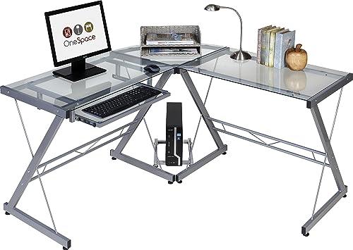 OneSpace Ultramodern Glass L-Shape Desk