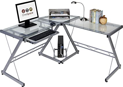 Onespace 50 Jn110400 Ultramodern Glass L Shape Desk Silver And Clear