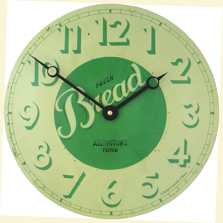 Roger Lascelles Fresh Bread Design Convex Tin 11-Inch Kitchen Clock