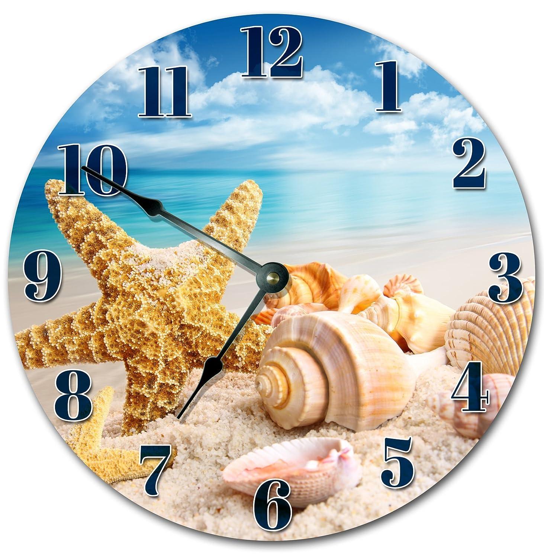 SEA SHELLS ON BEACH CLOCK Large 10.5 Wall Clock Decorative Round Novelty Clock
