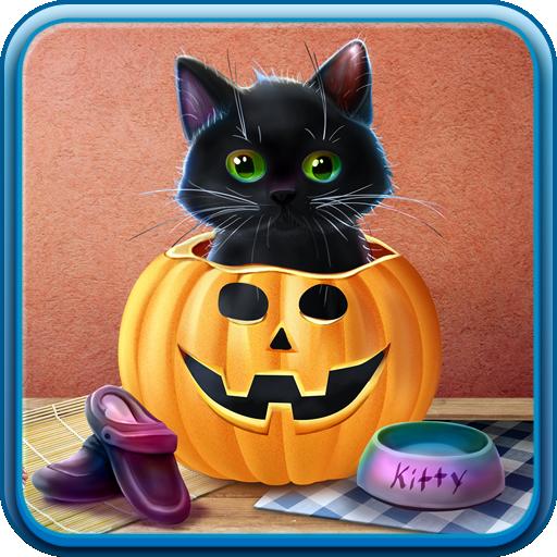 Kitten on Halloween Live Wallpaper
