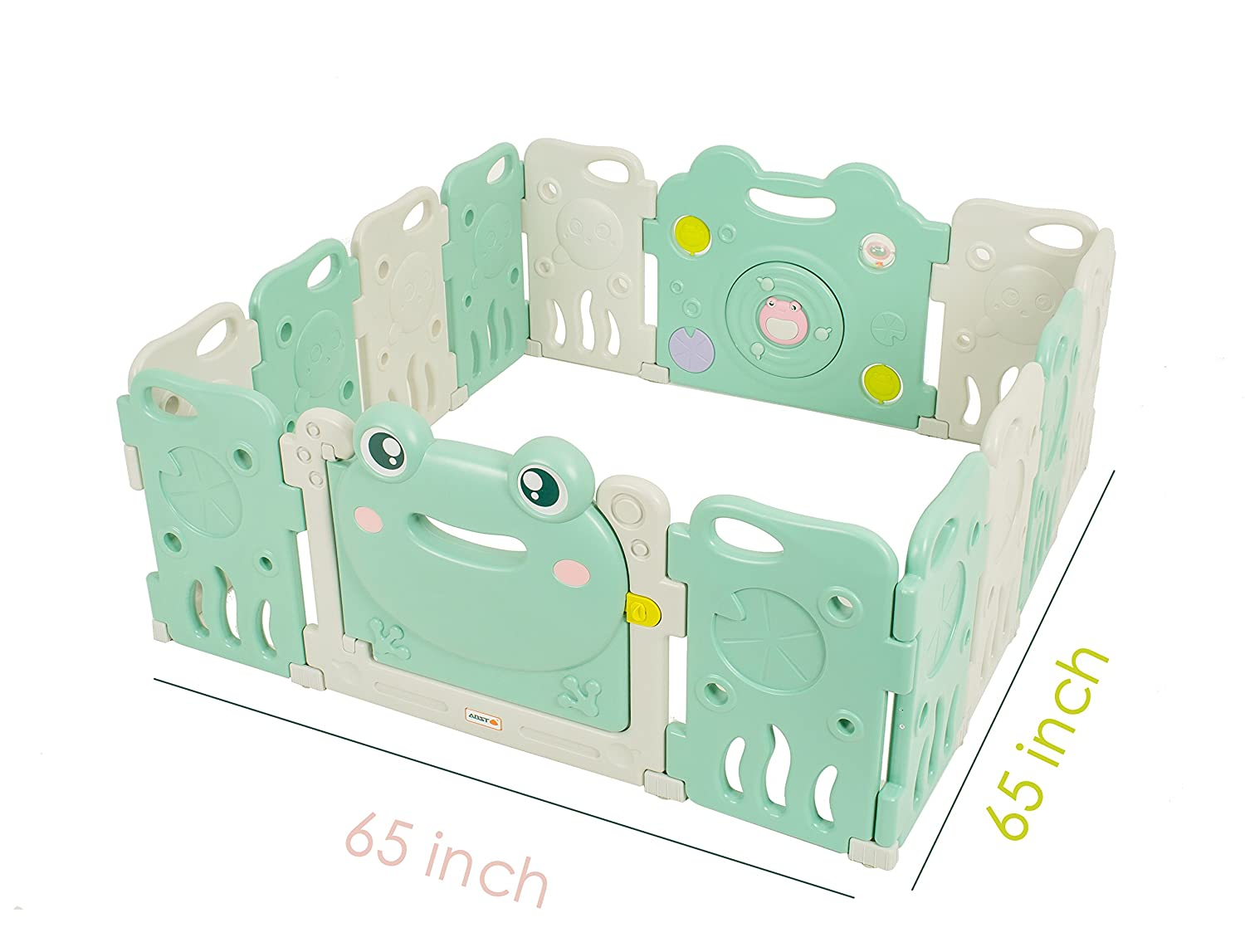 Baby Playpen - Kids 14 Panel Activity Centre Safety Play Yard, Home Indoor Outdoor New Pen - Frog Design TCBunny