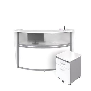 Ofm Marque Series Plexi Single Unit Curved Reception Station Office Furniture Receptionist Secretary Desk With White Pedestal Pkg 55310 White