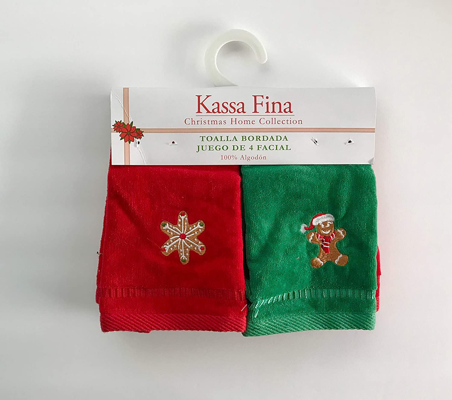 Amazon.com : Kassa Fina Holiday Christmas Home Collection Embellished Towel, Set Of 4 Fingertips Gingerbread Christmas Tree : Everything Else