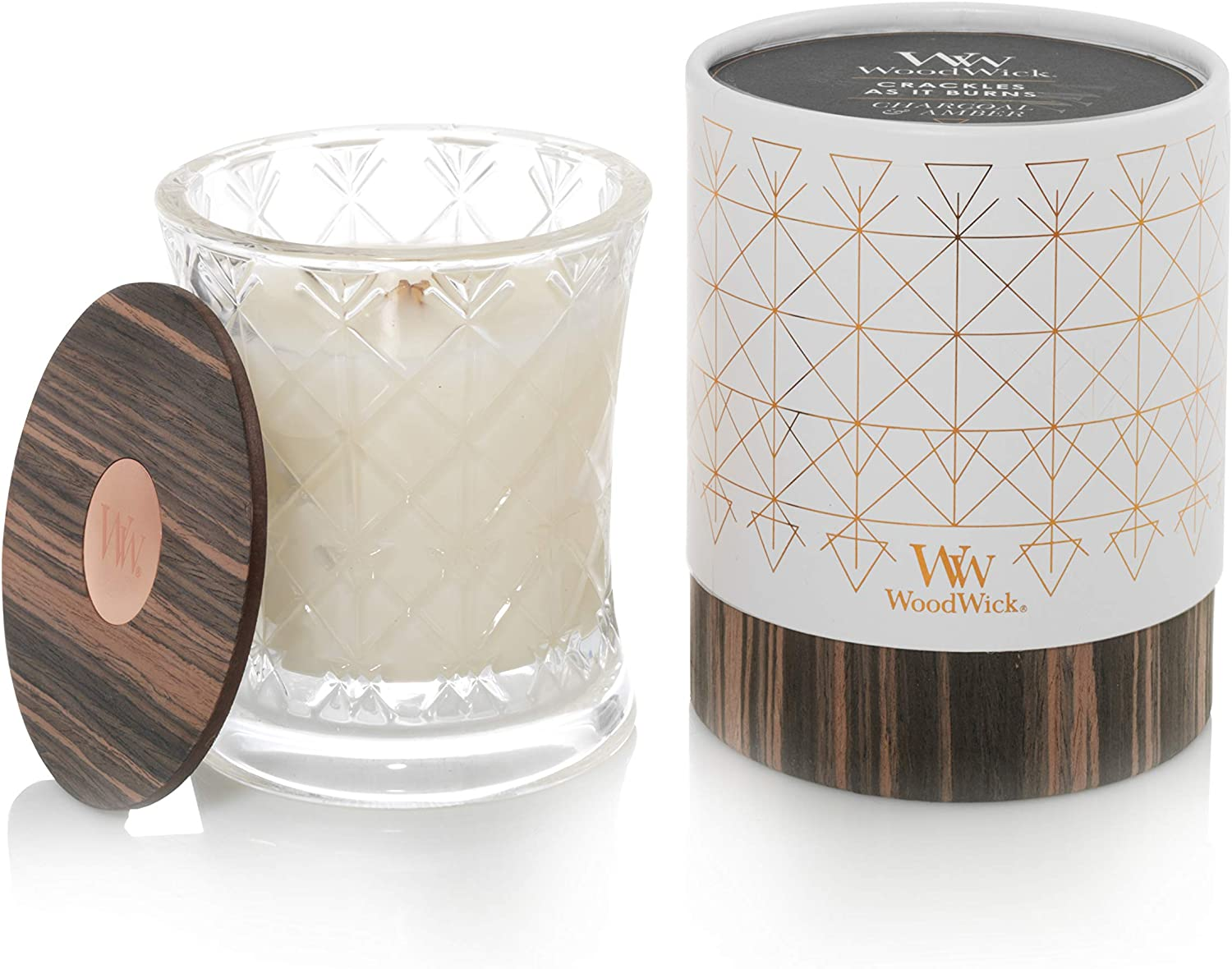 WoodWick Aura Charcoal & Amber Scented Candle Wood Candle Wick 9.7 oz. Glass Jar Candle
