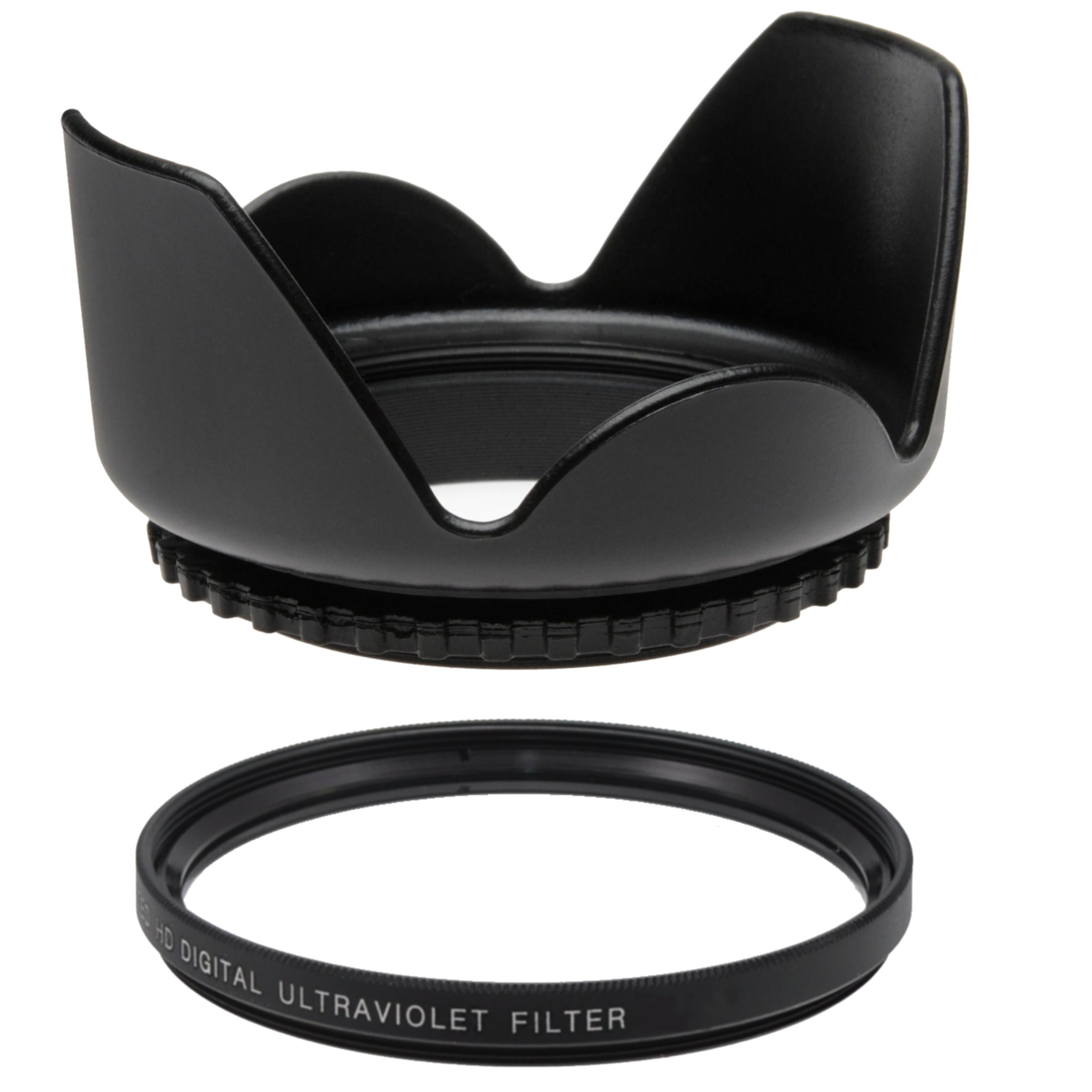 58MM UV Filter + 58mm Tulip Lens Hood for Olympus, Canon, Sigma, Tamron, Pentax SLR and DSLR Lenses 58 mm Ultraviolet Filter & 58 mm Lens Hood by Shop Smart Deals