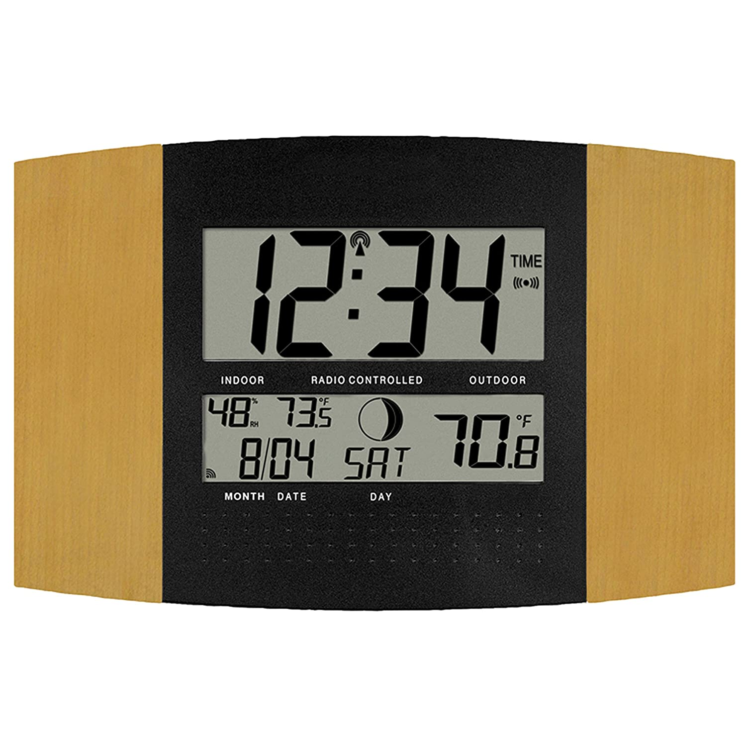Amazon la crosse technology ws 8147u it atomic digital wall amazon la crosse technology ws 8147u it atomic digital wall clock with temperature and moon phase home kitchen amipublicfo Choice Image