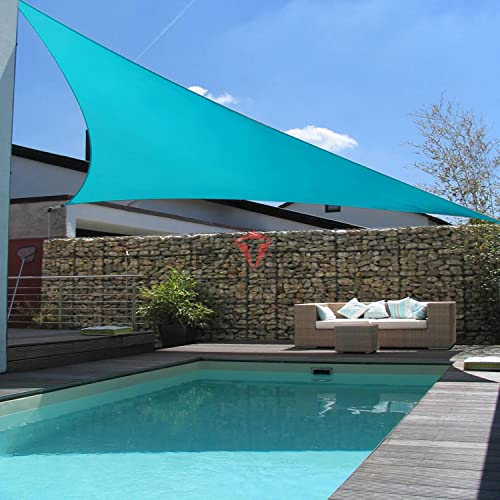 Patio Paradise Turquoise Green 25x25x35 Sun Shade Sail Right Triangle Canopy, Permeable UV Block Fabric Durable Outdoor, Customized Available