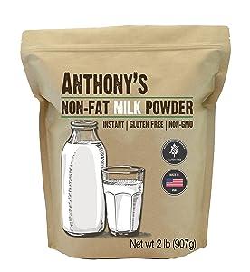 Anthony's Non Fat Milk Powder, 2 lb, Instant, Gluten Free & Non GMO