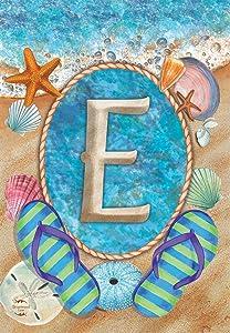 Briarwood Lane Summer Monogram Letter E Garden Flag Flip Flops Seashells 12.5