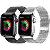 YC YANCH 2 Pack Bands Compatible for Apple Watch 38mm 40mm 42mm 44mm, Adjustable Stainless Steel Mesh Metal Loop…