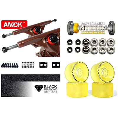 'LONGBOARD Axes Advanced | Amok Trucks 7 Set 180 mm | Amphetamine Integra Roulements ABEC 7 | Bigfoot Wheels | avec Hardware & Grip Tape