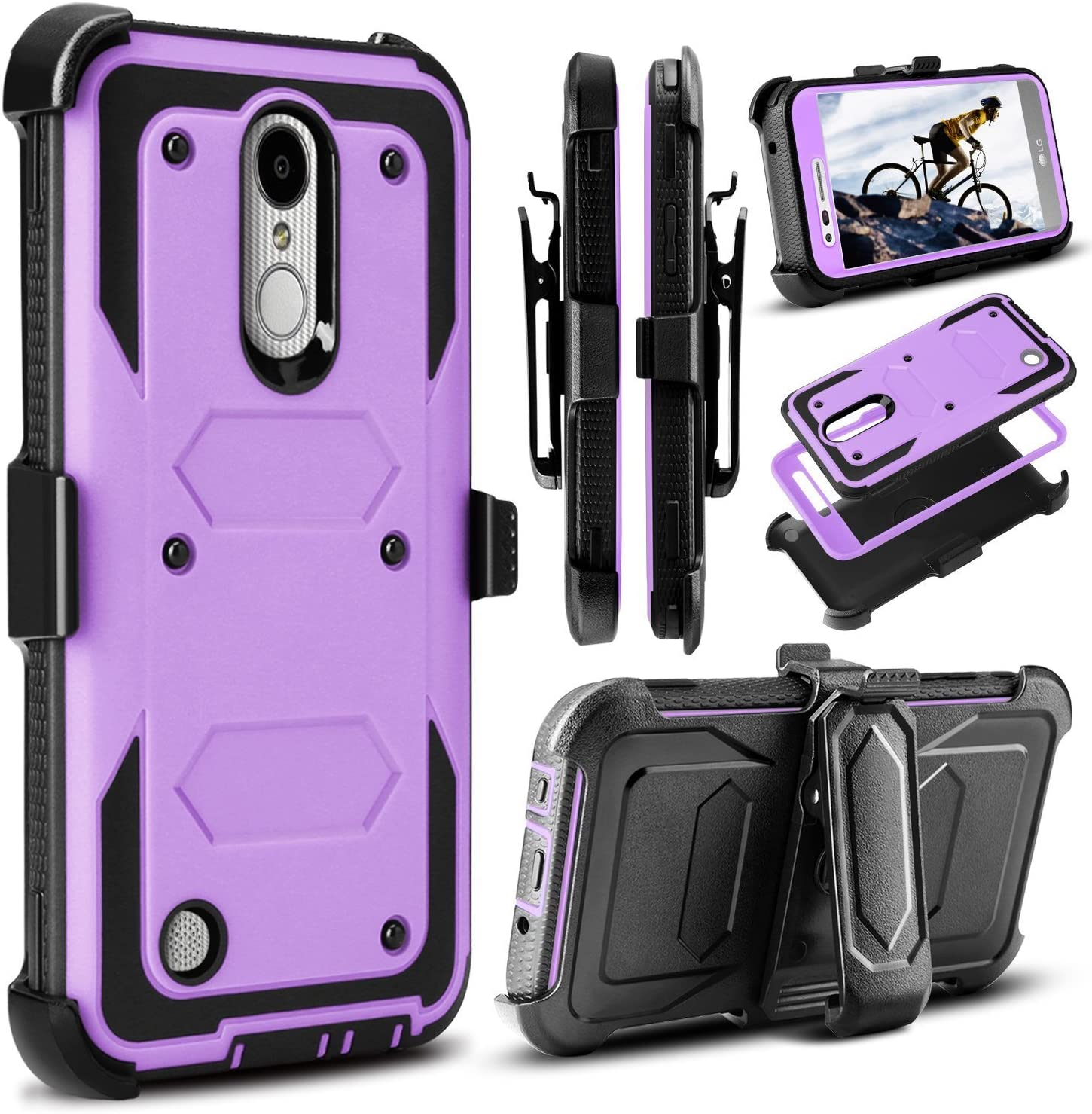 LG K20 Plus/LG K20 V/LG Harmony/LG K10 2017/ LG V5 / Grace LTE Case,Heavy Duty Shockproof[Kickstand][Belt Clip]Dual-Layer Full-Body Armor Rugged Protection Case With Built-in Screen Protector (Lilac)