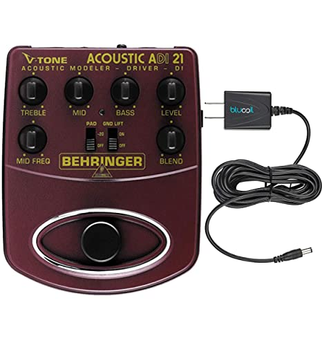 Amazon.com: Behringer ADI21 V-Tone Acoustic Driver Preamp Stompbox Direct Injection Box Bundle with Blucoil Power Supply Slim AC/DC Adapter for 9V DC 670mA: ...