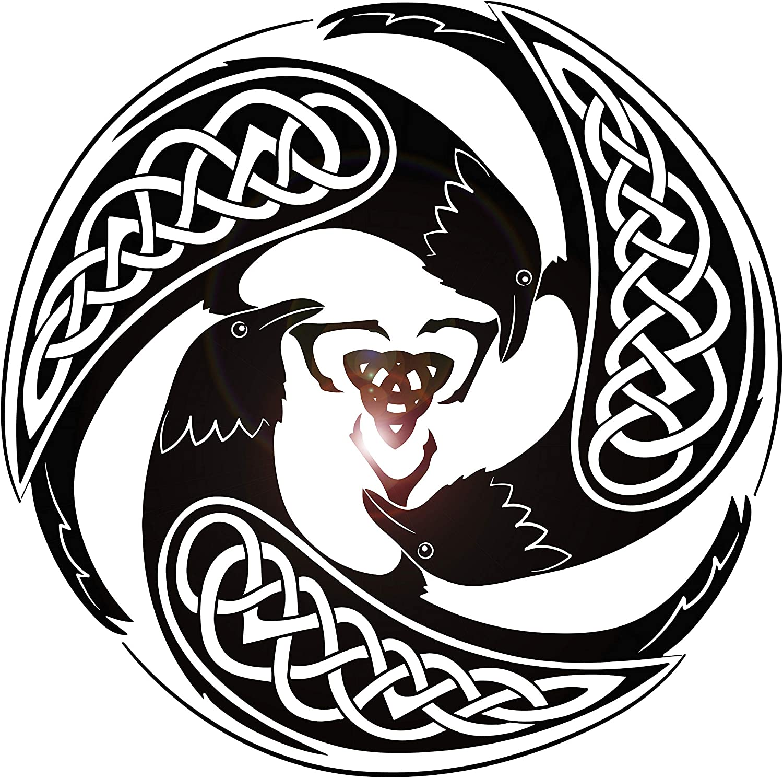 Vinyl Wall Decal Celtic Raven Pattern Druid Irish Art Ireland Stickers Large Decor (ig4877) Black 28.5 in X 28.5 in