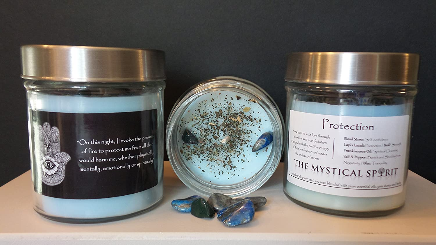 Protection: Soy-Coconut Wax Candle with Gemstones, Herbs, Essential Oils Wicca, Pagan, Spells