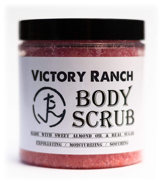 Victory Ranch Exfoliating Sugar Scrub, Natural Handmade Moisturizing Body Scrub, Cherry Almond