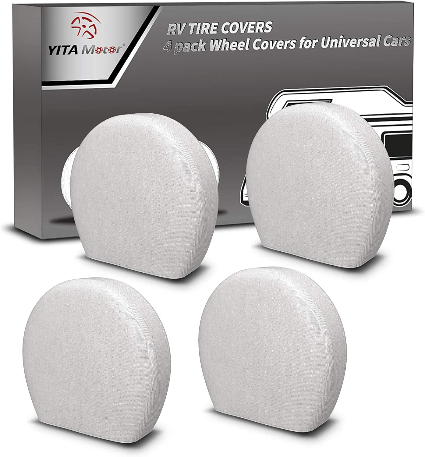 """YITAMOTOR Tire Covers,Set of 4 Premium 600D Oxford Motorhome RV Wheel Covers,100% Waterproof PU Coating Tire Protectors,Universal Tire Covers,Fits 32""""- 34.5"""" Tire Diameters"""