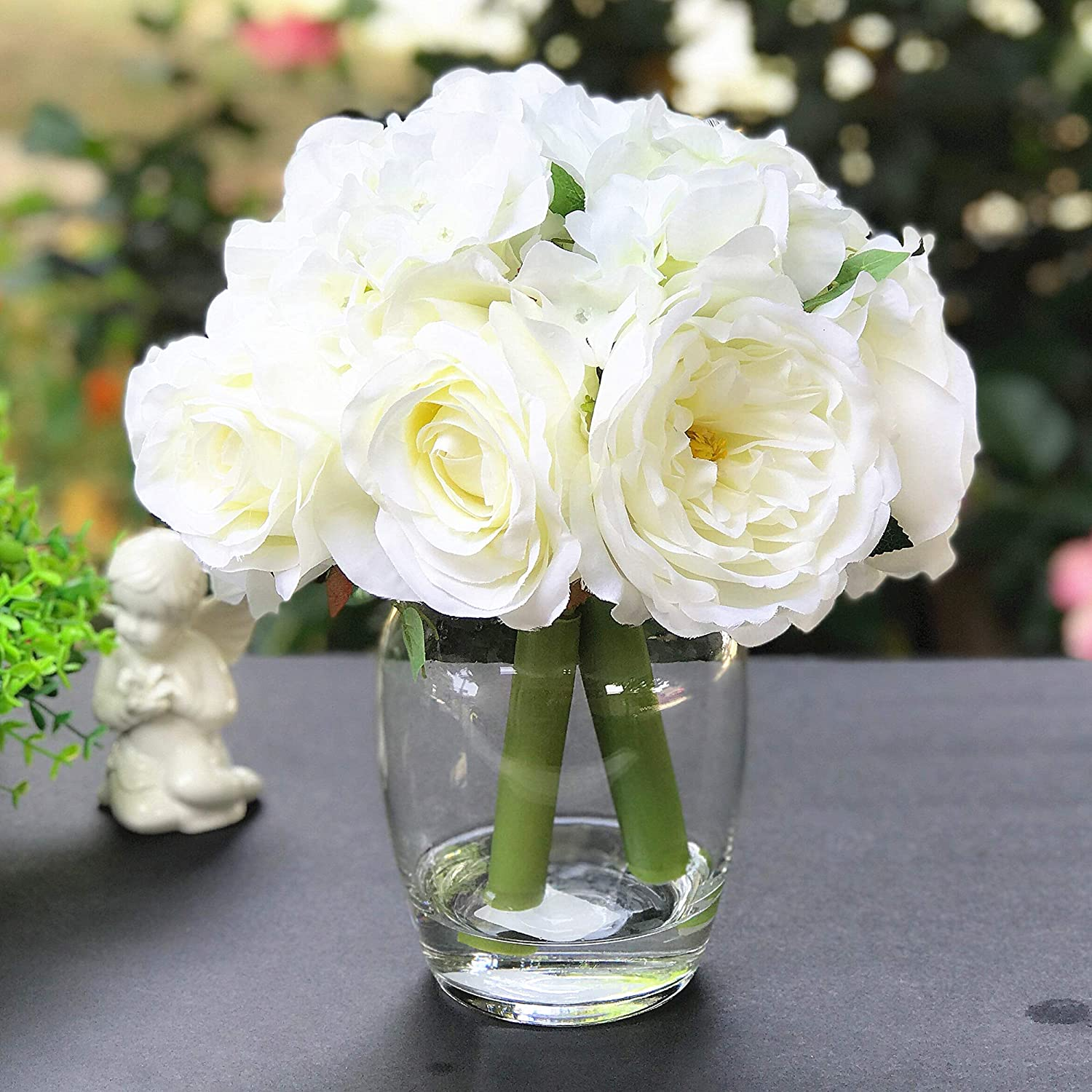 Amazon Com Enova Home Peony Rose And Hydrangea Mixed Faux Flower Arrangement With Clear Glass Vase Flower Centerpiece For Home Office Decoration Cream Home Kitchen