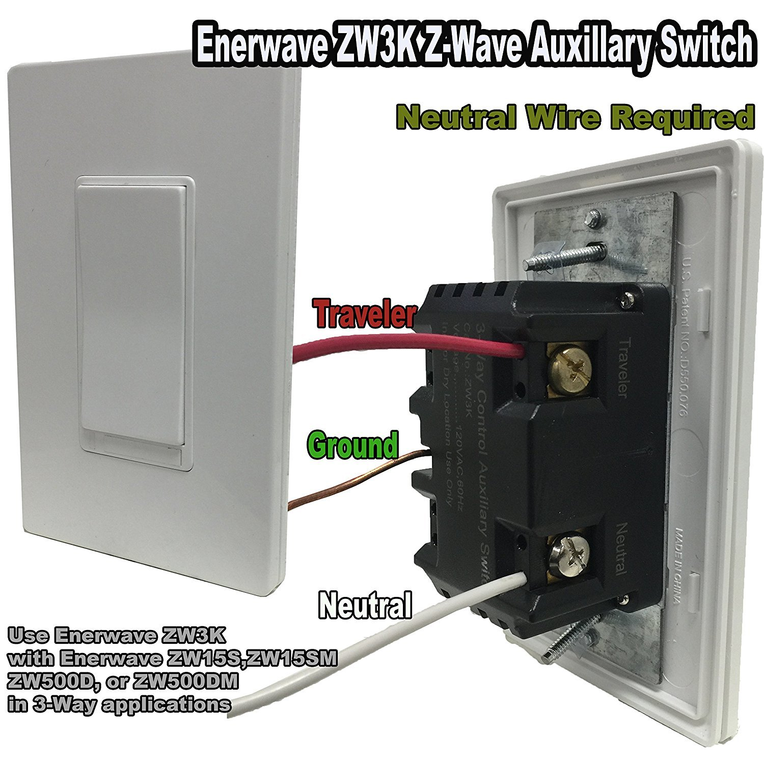 Add On Smart Switch By Enerwave 3 Way Z Wave Home Neutral Automation Lighting Light Zw3k Bk Wire Required