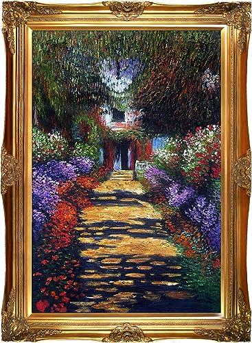 La Pastiche Garden Path at Giverny Minature Art, 9.75 x 9.75 , Multi-Color, Victorian Frame, 44 x 32