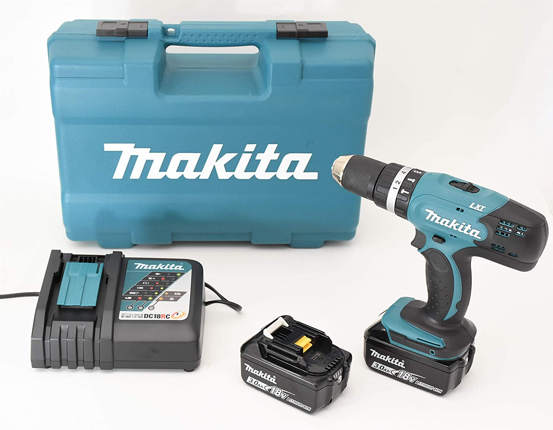 Makita DHP453RFX4Taladro atornillador de percusión con 2baterías 18V 3Ah Li-Ion, 74accesorios y maletín de transporte