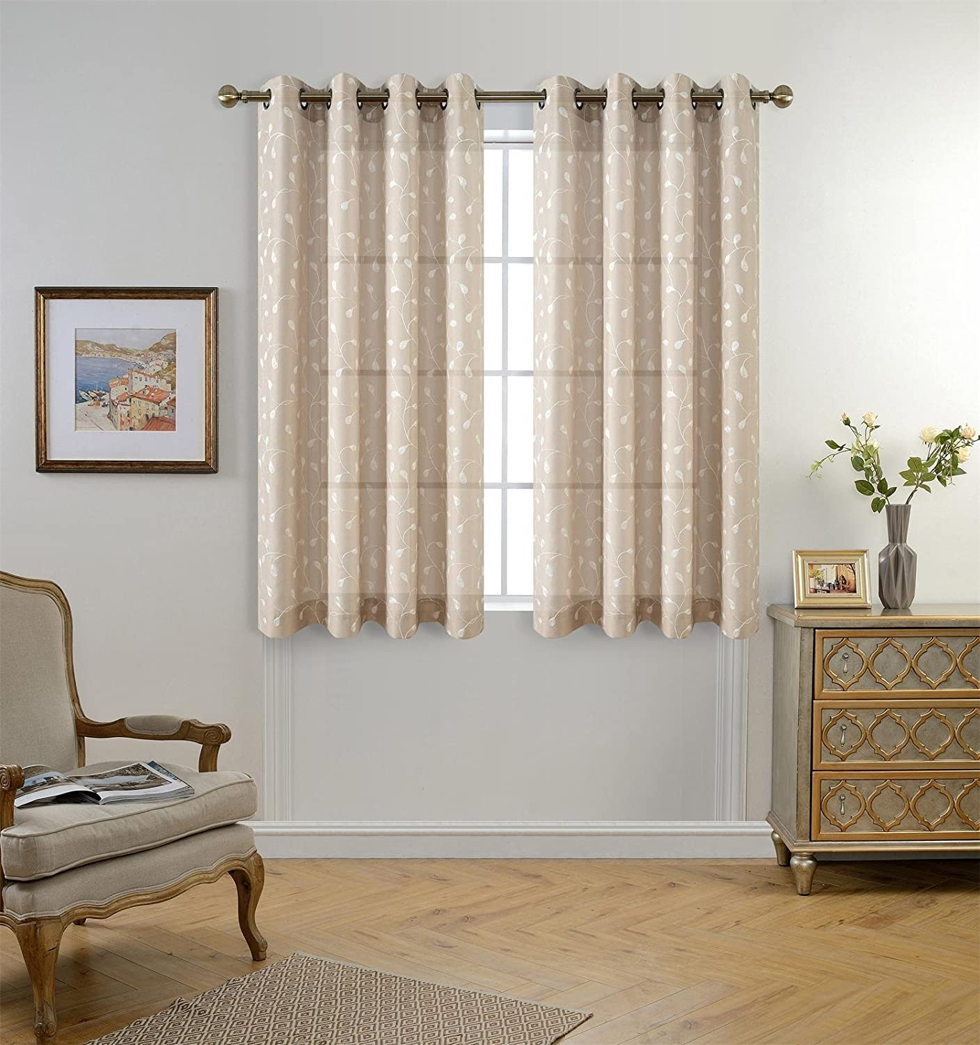 Miuco Floral Embroidery Semi Sheer Curtains Faux Linen Grommet Window Curtains