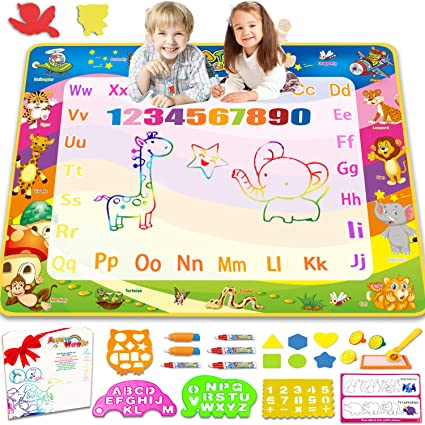 Amazon Com Aqua Magic Doodle Drawing Mat 40x30 Inches Large Color Water Writing Painting Board For Kids Baby Toddler Mess Free Educational Toys Xmas Gift For Boy Girl Age 2 3