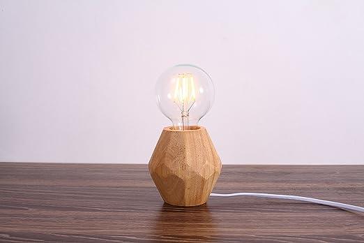 MSTAR Tischlampe Ohne Schirm Nachttischlampe Mit Schalter E27 Tischleuchte Landhausstil Aus Holz Naturfarbe Fr Schlafzimmer