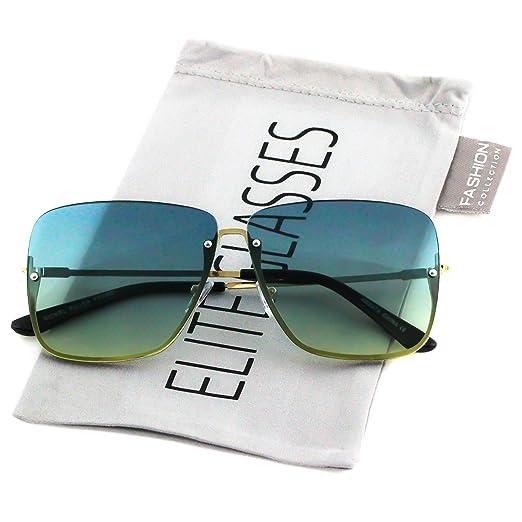 41f5524080a0e Elite Rimless Gradient Lens Square Metal Frame Mens Womens Vintage Aviator  Sunglasses (Blue Yellow