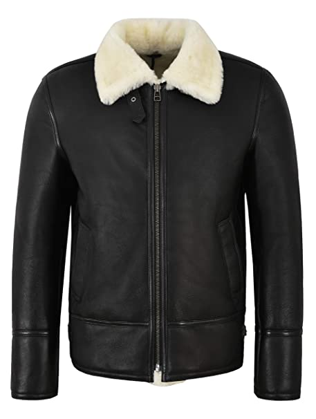 Men's B3 Shearling Sheepskin Jacket Black with Ivory Fur