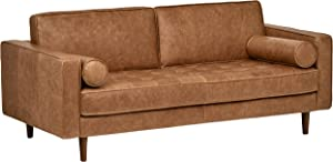 Rivet Aiden Tufted Mid-Century Modern Leather Bench Loveseat Couch Sofa
