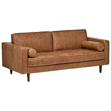 Remarkable Rivet Aiden Tufted Mid Century Modern Leather Bench Loveseat Couch Sofa 74W Cognac Bralicious Painted Fabric Chair Ideas Braliciousco