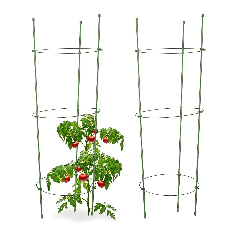 Relaxdays Rankhilfe Tomaten, 2er Set, Höhenverstellbare Ringe ...