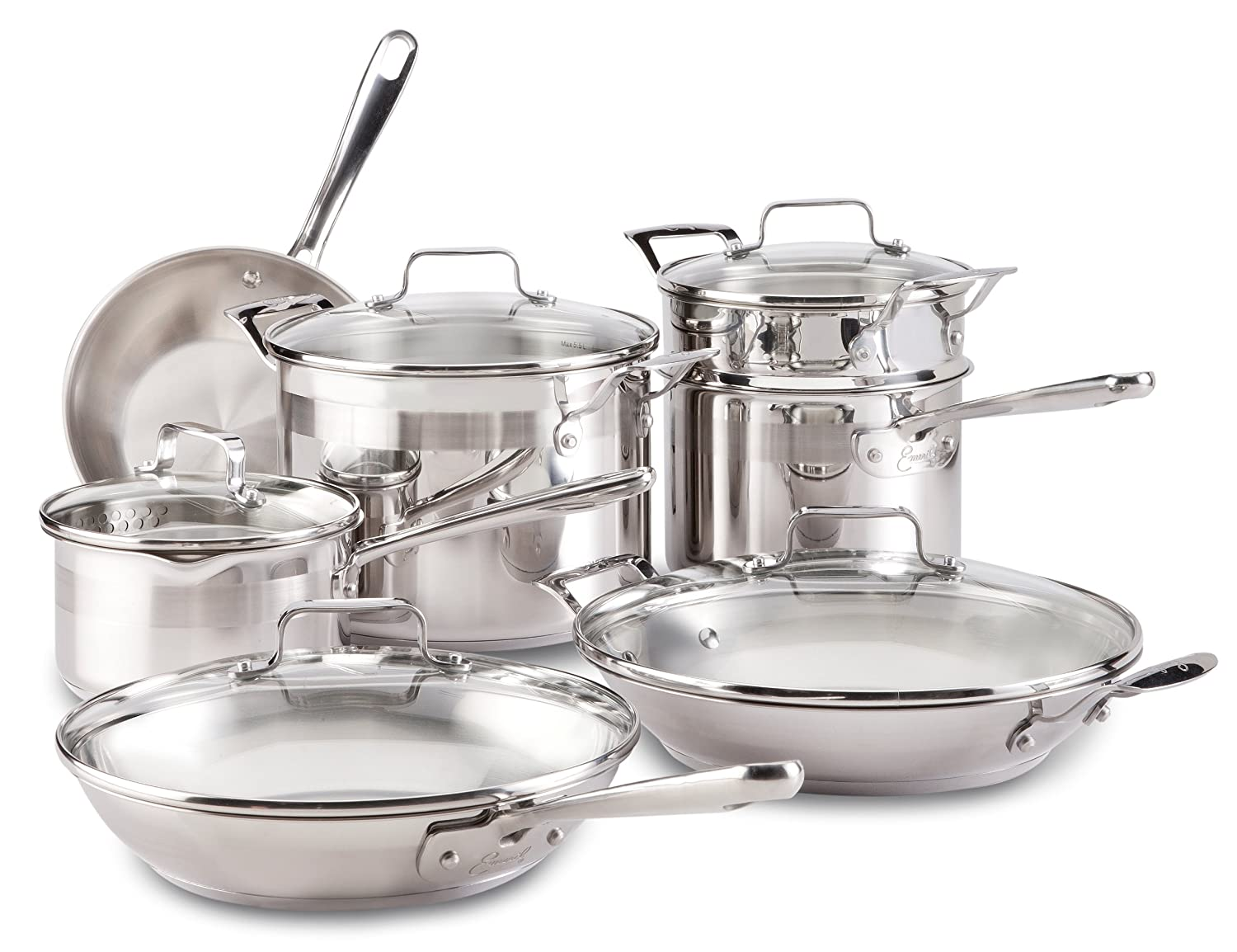 Amazon.com: Emeril By All Clad E884SC Chefu0027s Stainless Steel Cookware Set,  12 Piece, Silver: Kitchen U0026 Dining