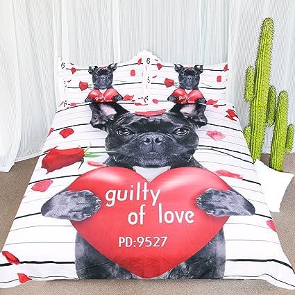 ARIGHTEX Juego de cama para perro, 3 piezas, diseño de bulldog francés con corazón