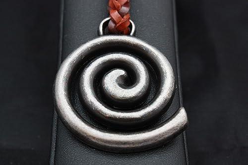 Llavero Celta de Cuero trenzado, Espiral en Zamak Cromado y ...