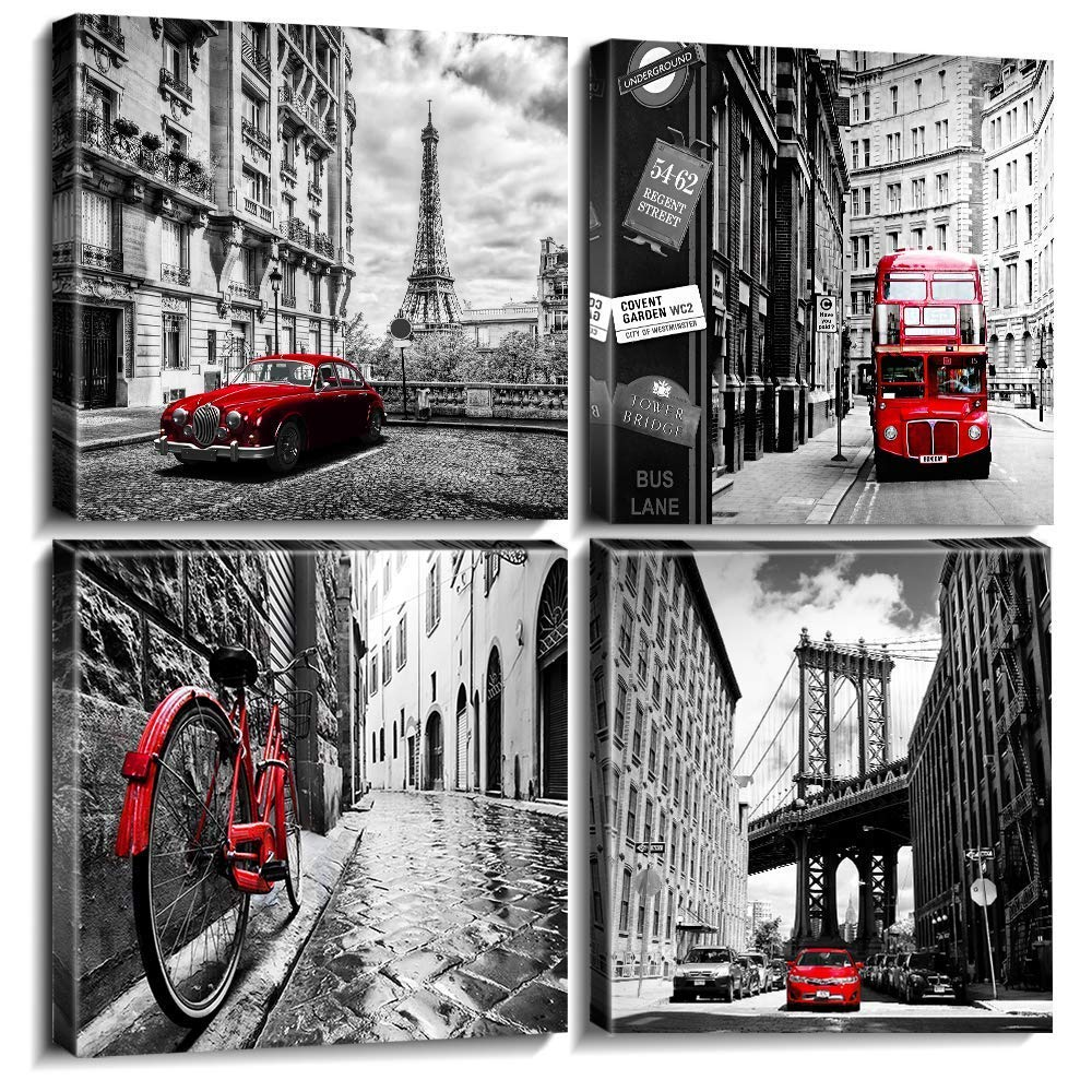 Cityscape Wall Art - White and Black Nostalgic City Wall Art Canvas Print with Red Classic Cars Oil Paintings Modern Arts Kitchen Wall Art Pictures Ready to Hang for Home Office Decor 4 Panel
