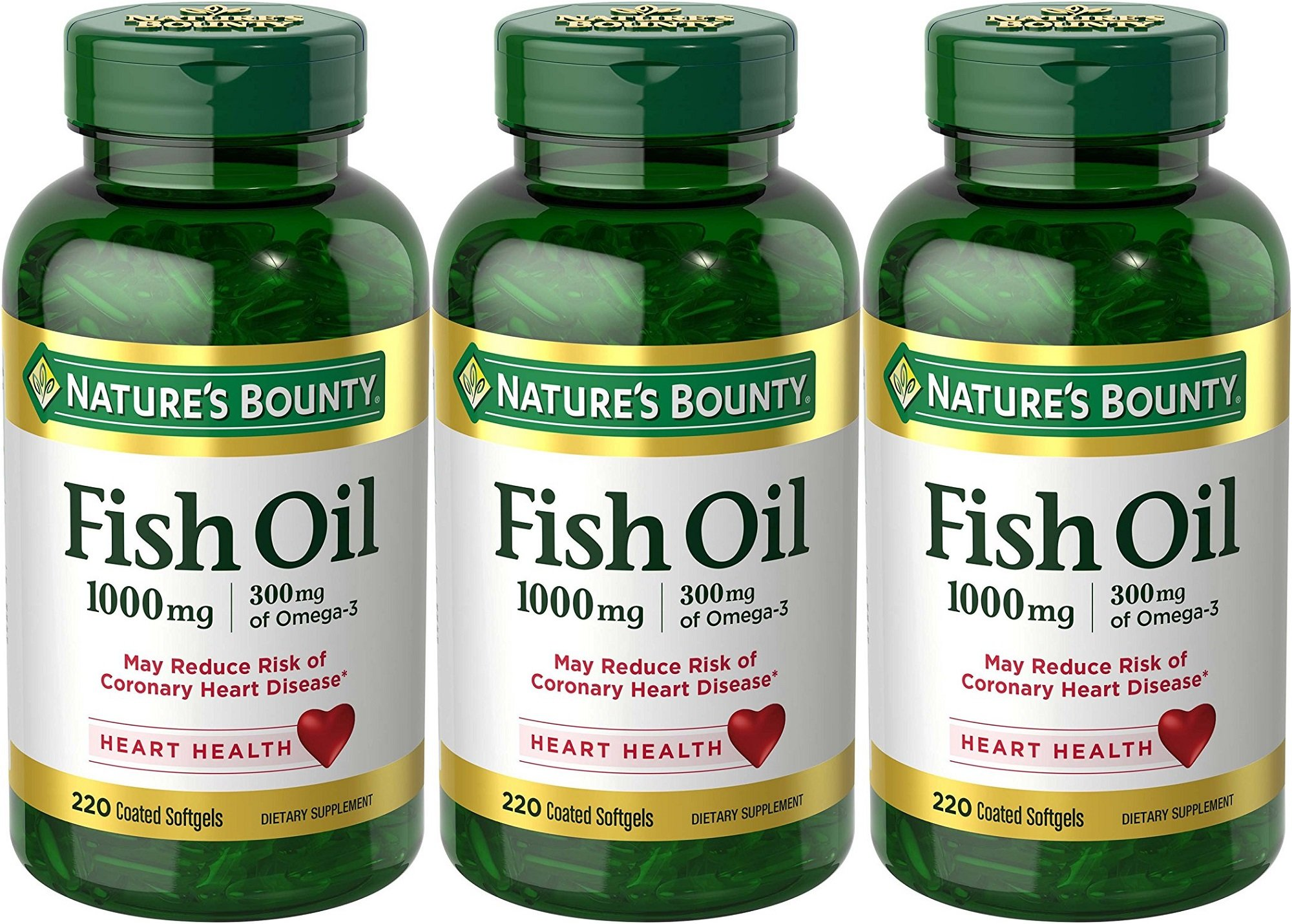 Nature's Bounty Fish Oil 1000 mg Omega-3, 220 Odorless Softgels (Pack of 3) by Nature's Bounty