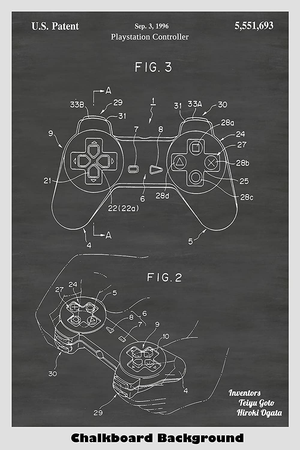 Sony Playstation Controller Patent Print Art Poster: Choose From Multiple Size and Background Color Options