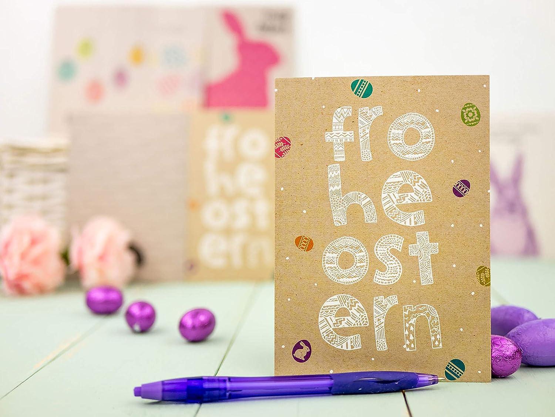 Papierdrachen 12 Osterkarten zum Sammeln und Verschicken Gru/ßkarten Set 6 Ostern 2020 liebevoll gestaltetes Postkarten Set Osterblumen