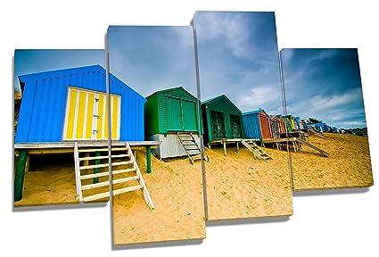 Casetas de playa Mar Arena Costa Multi lienzo, 4 Panel de 110 cm de ancho