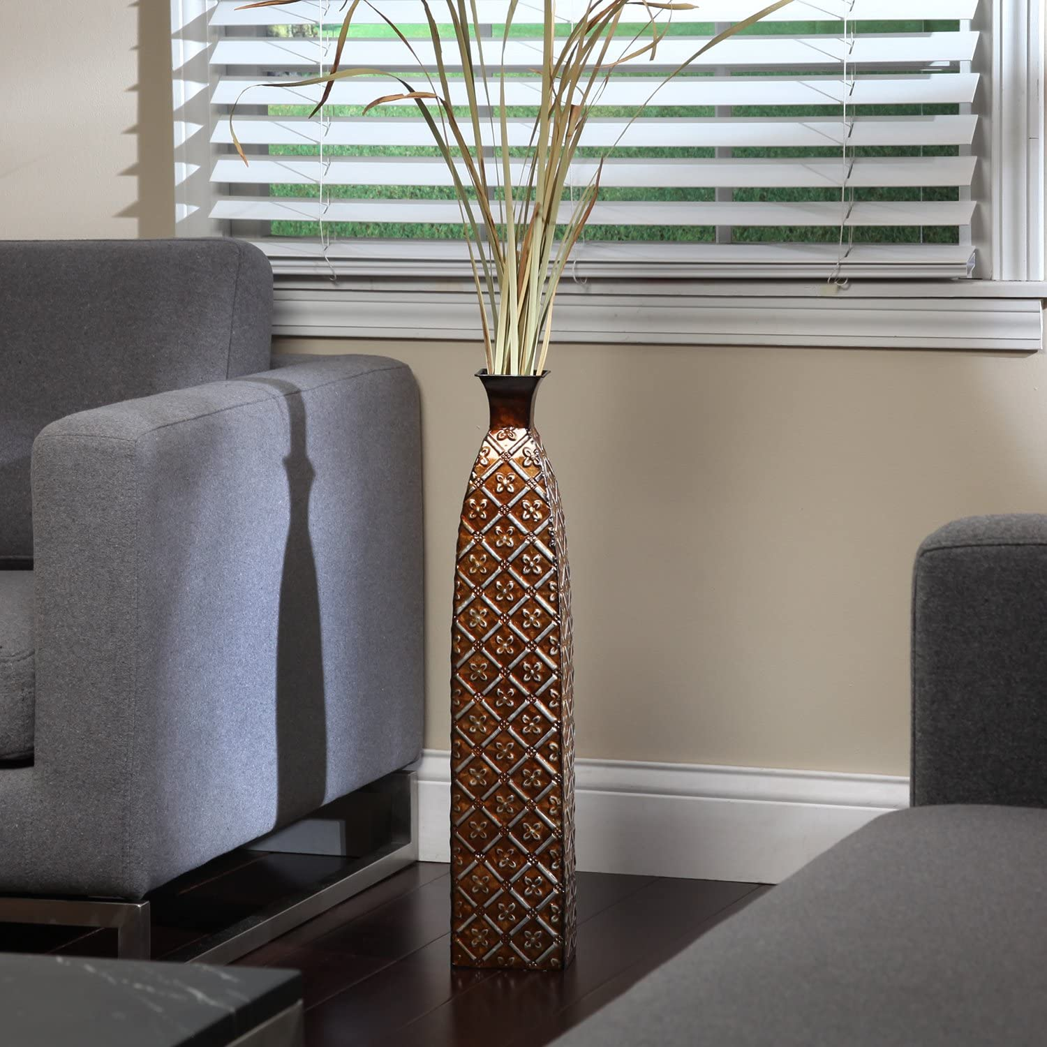 Multicolored metal embossed floor vase