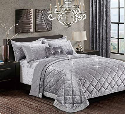 3 Piece Velvet Quilted Bedspread Throw Luxury Bedding Set Double King Super King