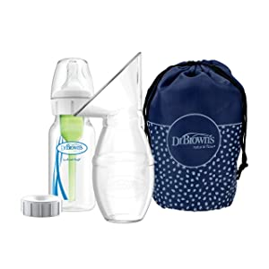 Dr. Brown's Silicone Breast Pump Breast Milk Catcher with Options+ Anti-Colic Baby Bottle & Travel Bag